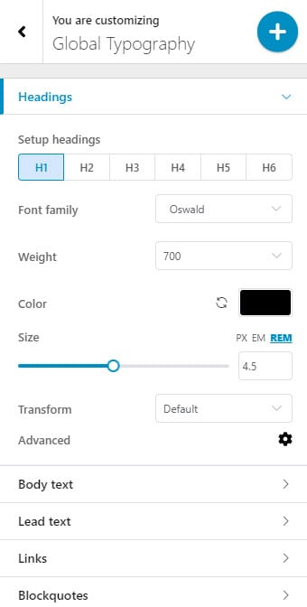 Changing text fonts, size and color under Typography Settings in WordPress
