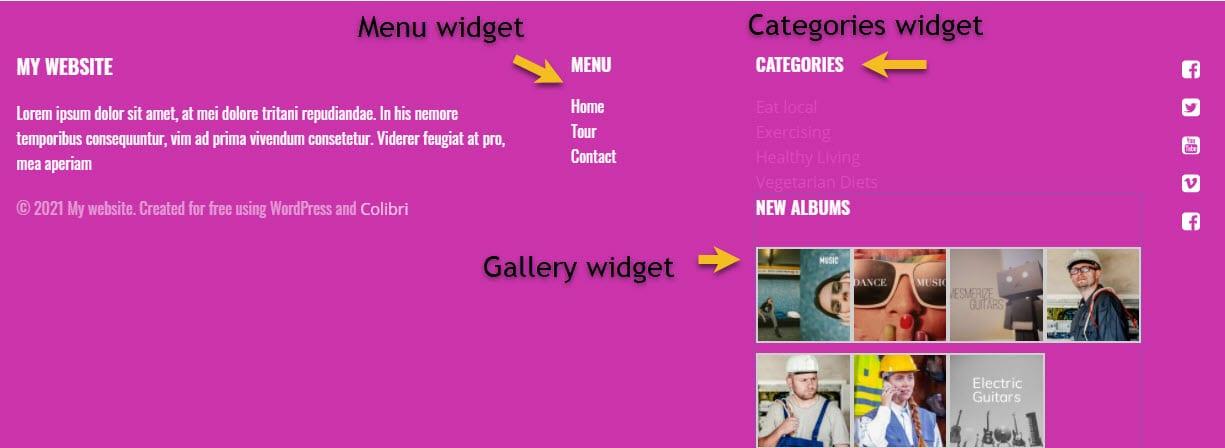 Footer widgets example