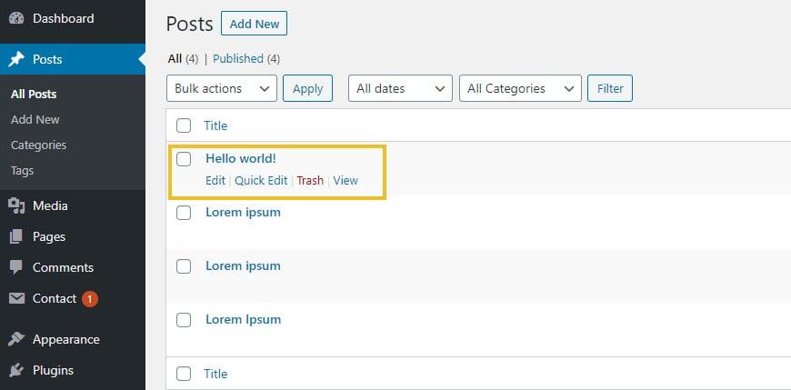 Selecting a WordPress post
