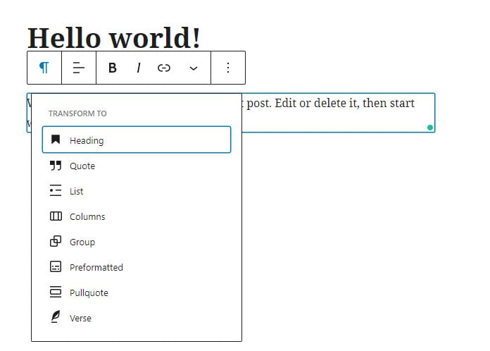 Text editing options in the Guternberg Editor
