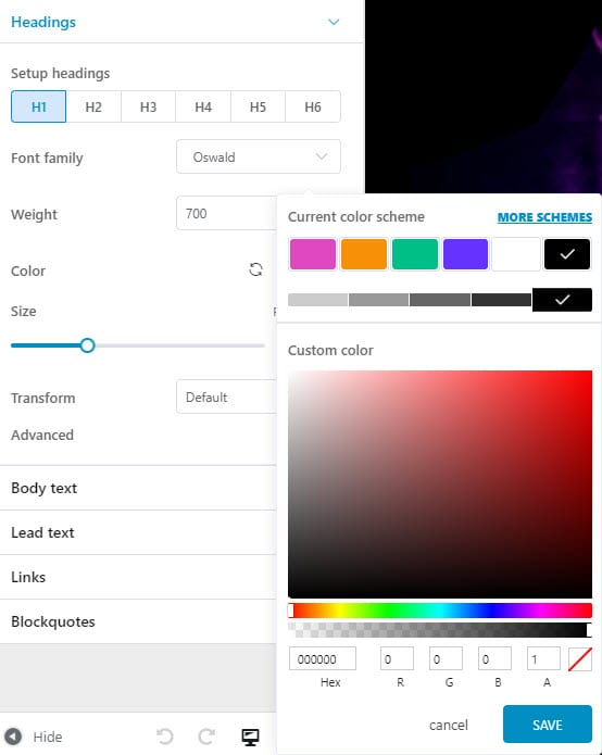 changing global font colors