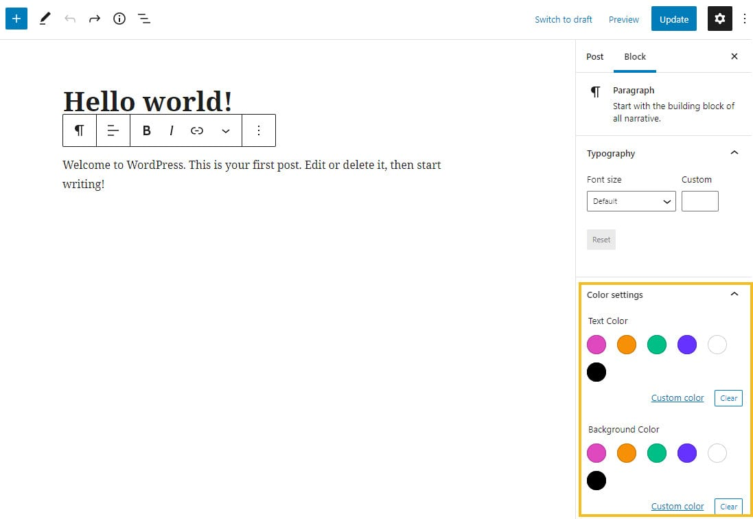 changing text color in the default WordPress editor