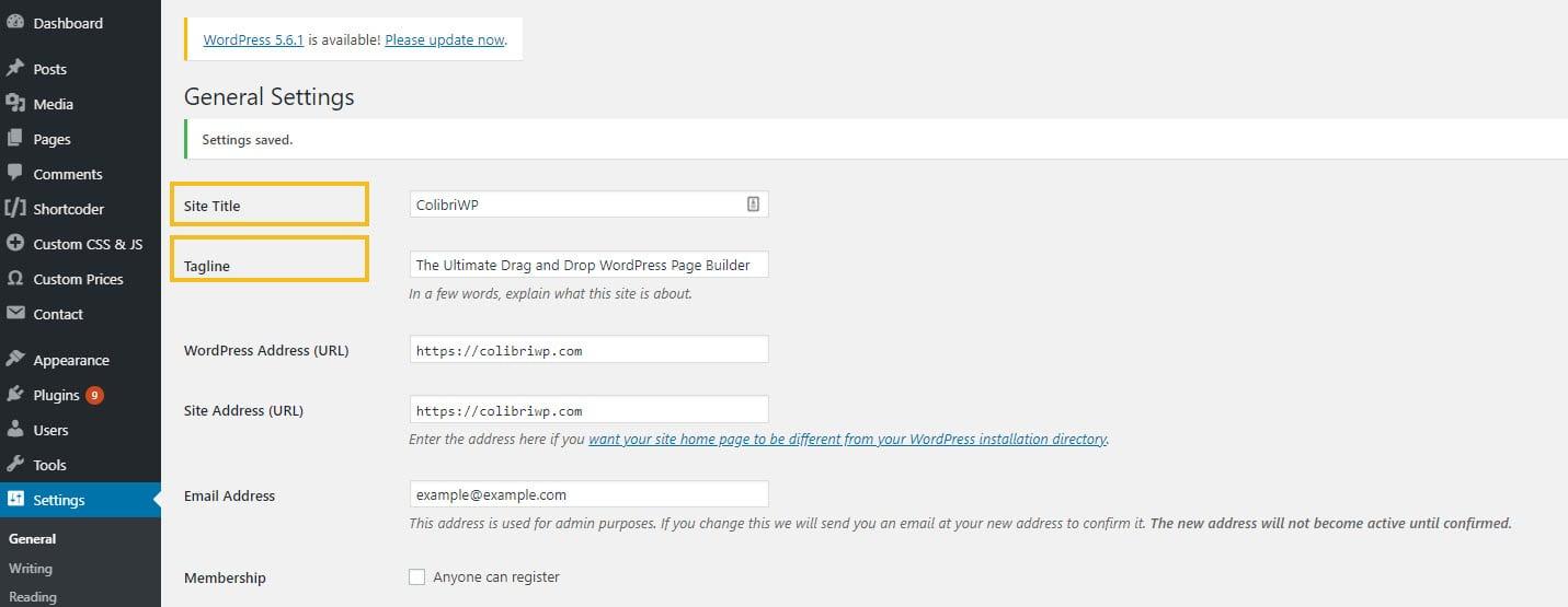 Homepage title and tagline setup in WordPress