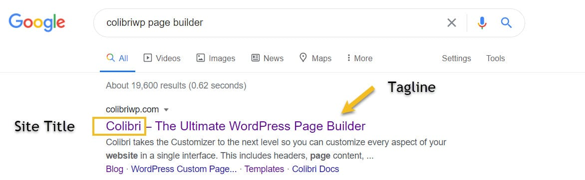 WordPress site title and tagline example
