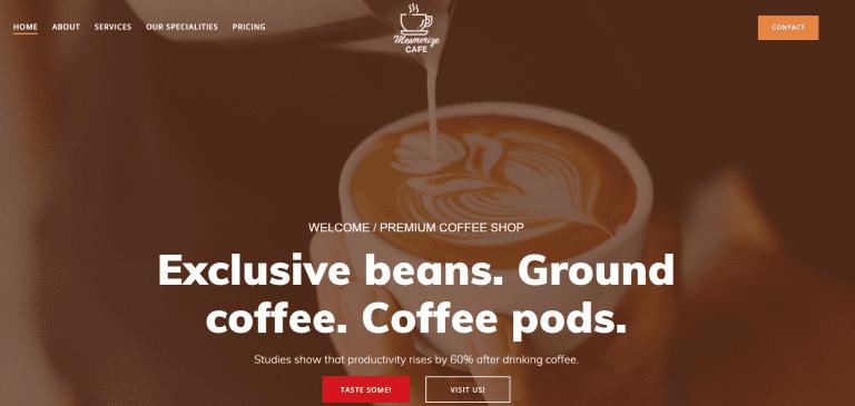 Homepage design - coffee shop