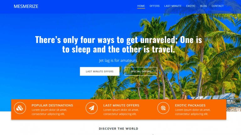 Homepage design - travelling