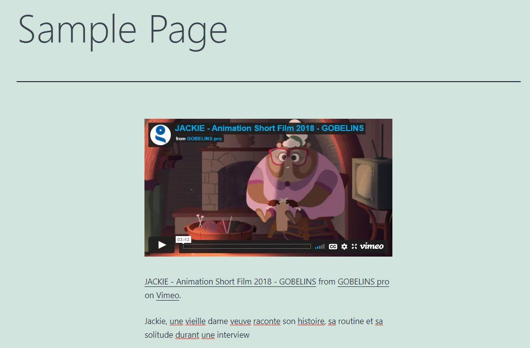 Embed Vimeo video inside a WordPress page