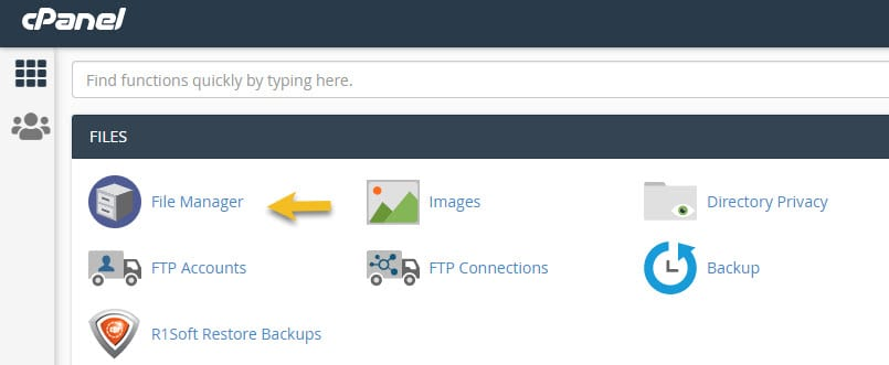 Access File Manager inside cPanel