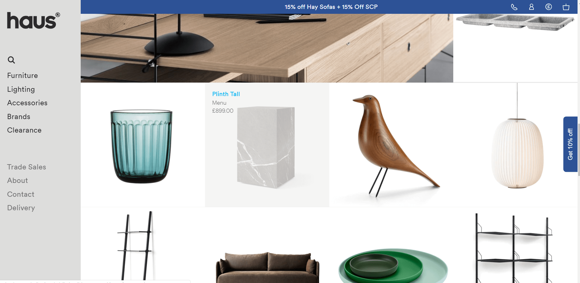 website design ideas - product gallery