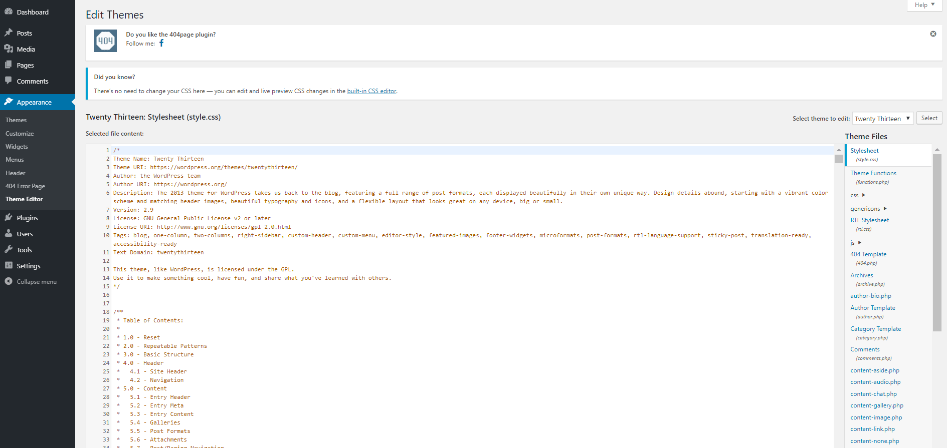 search for 404 page in WP admin