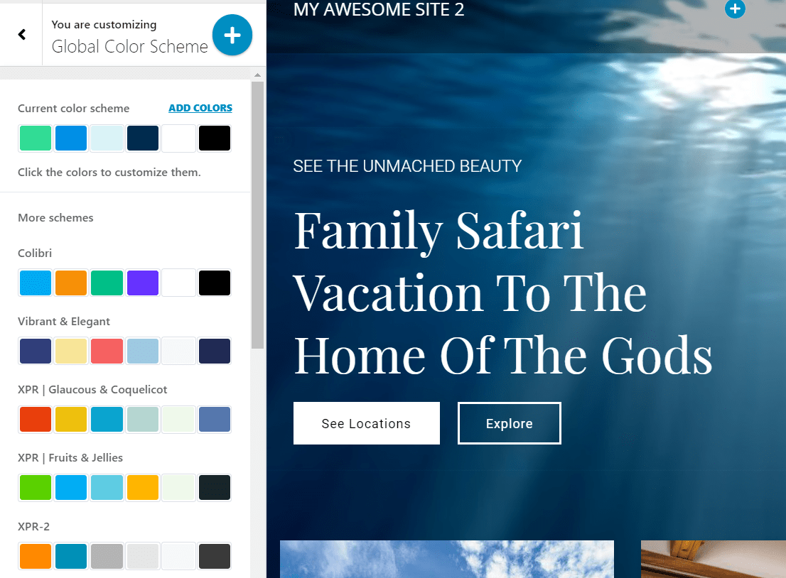Color scheme for resorts website