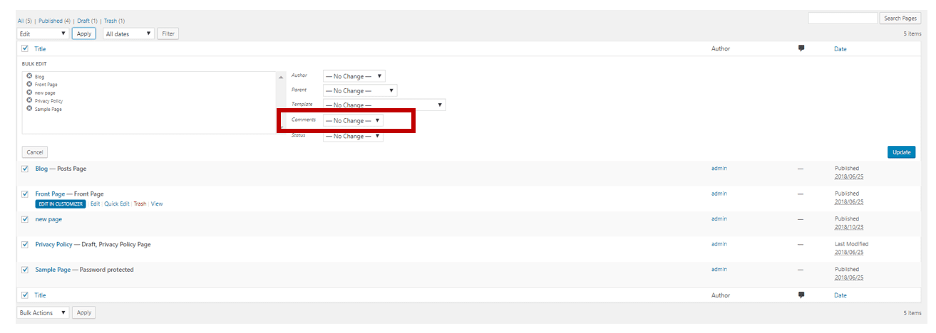 How to disable comments in WordPress - case 2