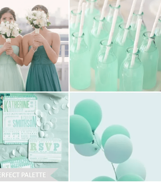 Mint color palette for party and weddings website