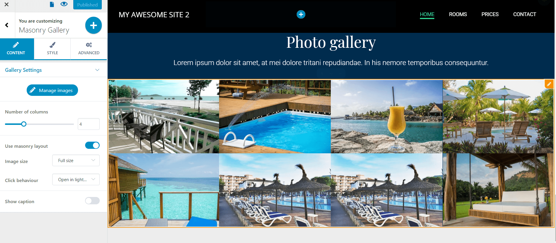 Photo gallery for resorts website
