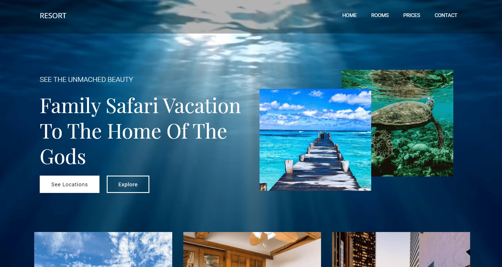 Kết quả hình ảnh cho website resort