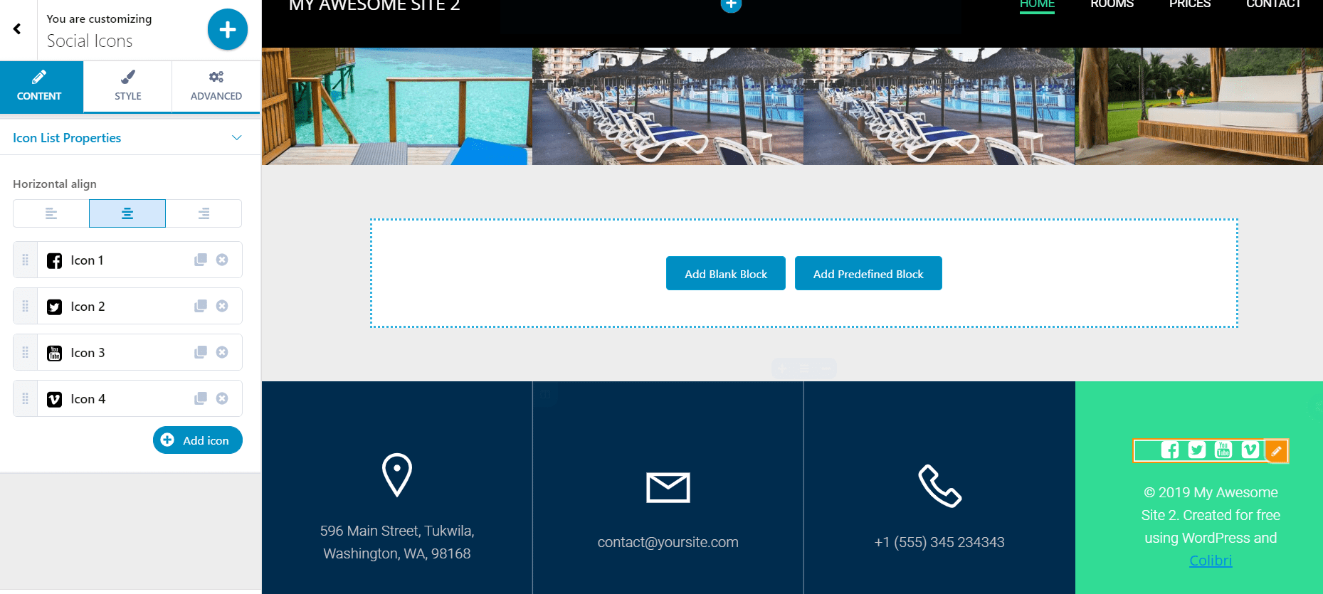 Resorts website - inserting social icons
