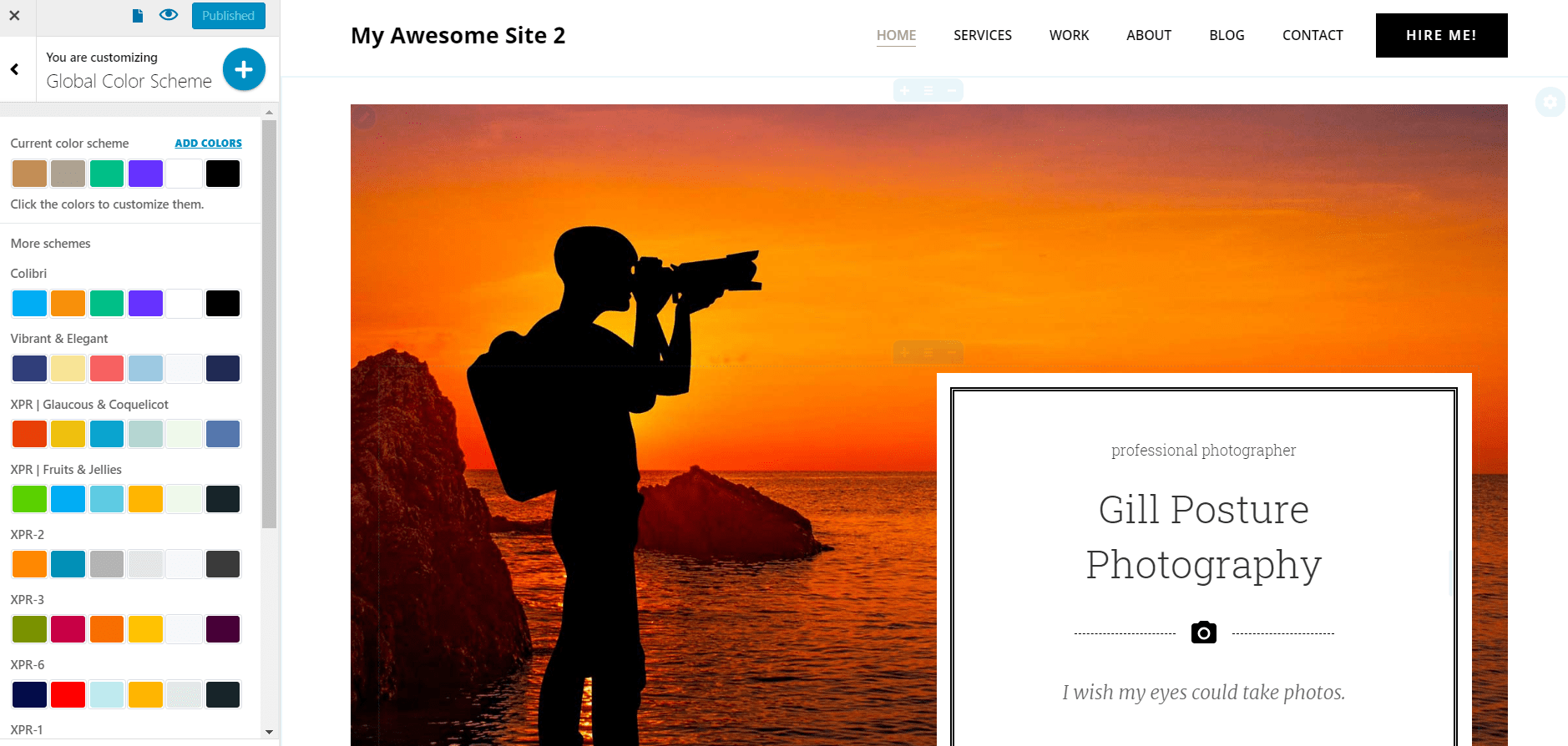 color scheme for photographer website