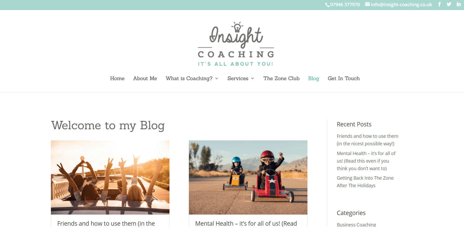 blog attached to coaching website