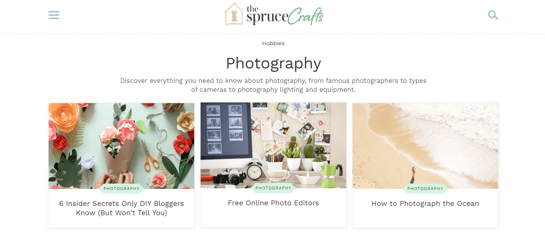 example photographer website