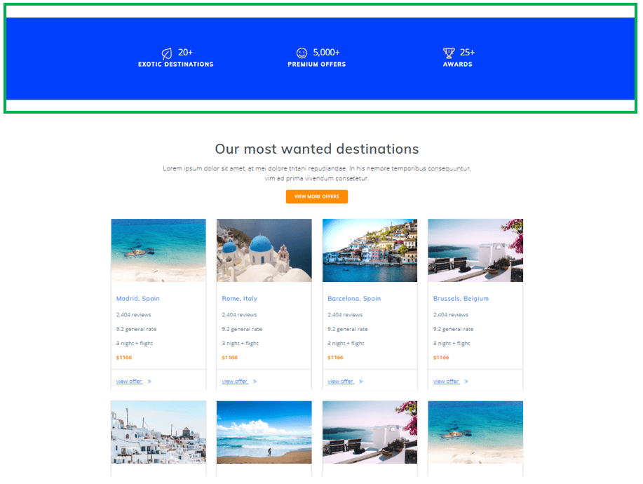 counters for travel website design
