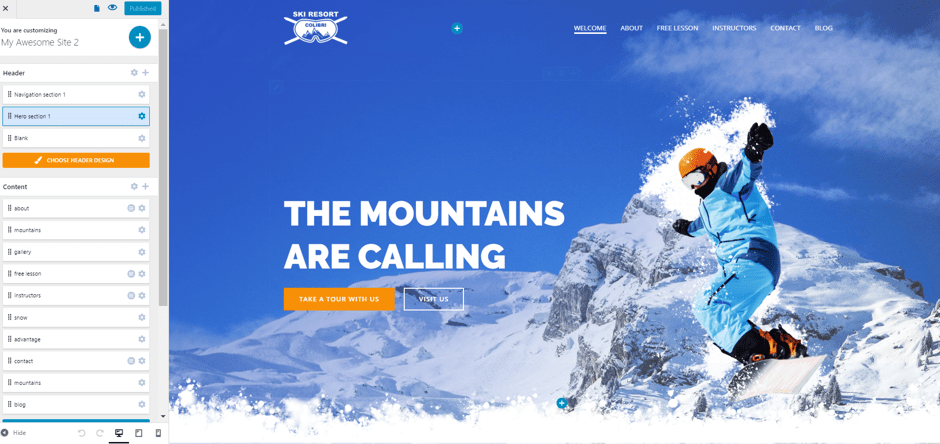 ski resort website Customizer