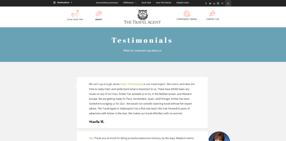 testimonials section in travel wesite