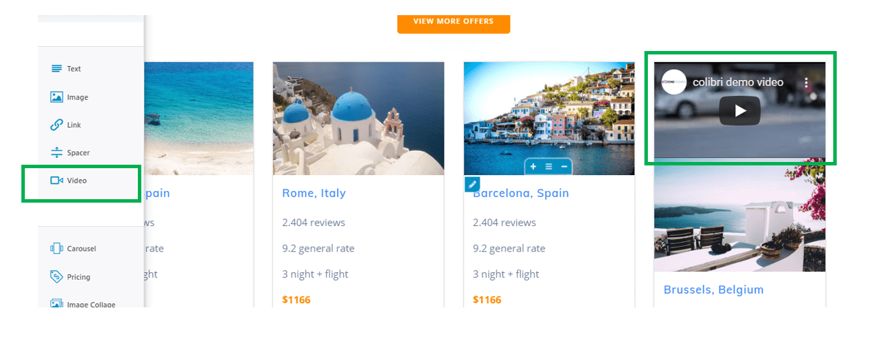 integrate videos - feature for travel website design