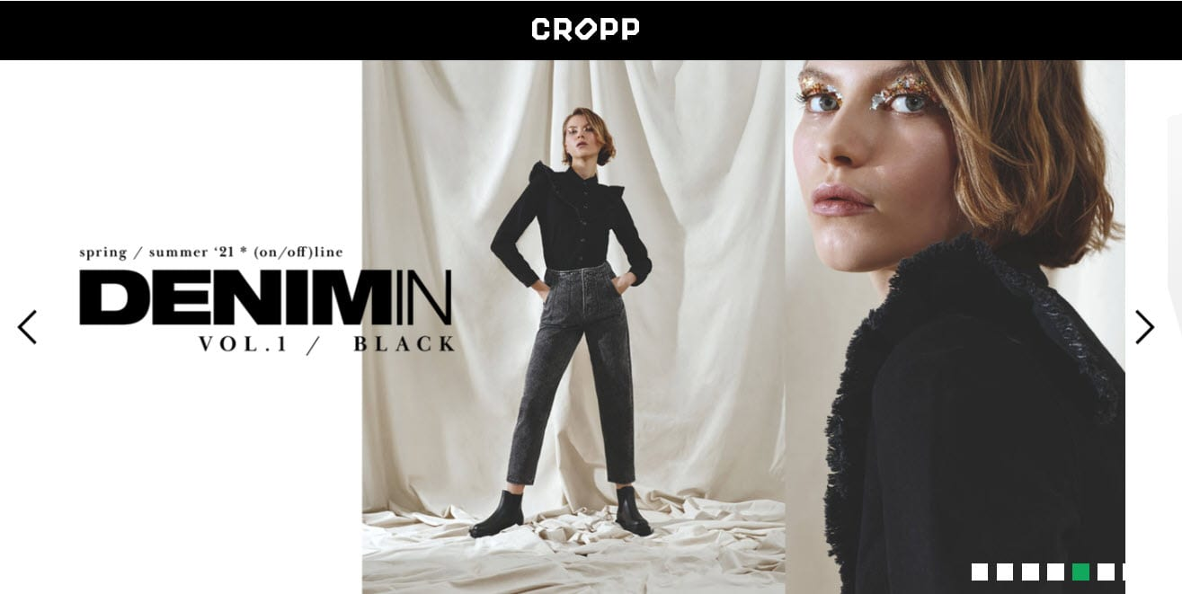 Cropp products shown in the header