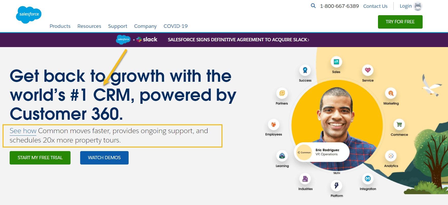 Salesforce inspiring trust from the website header