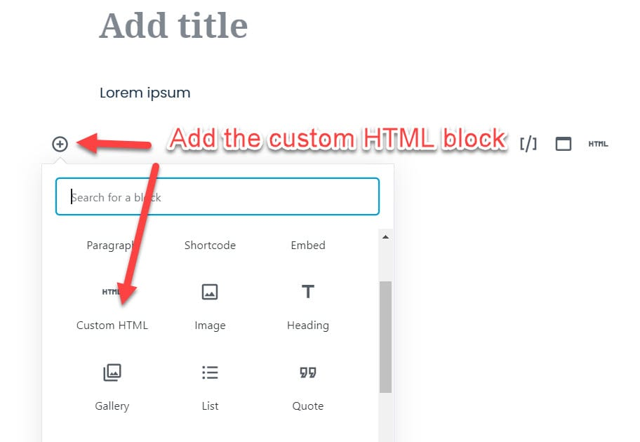 Custom HTML block in Gutenberg