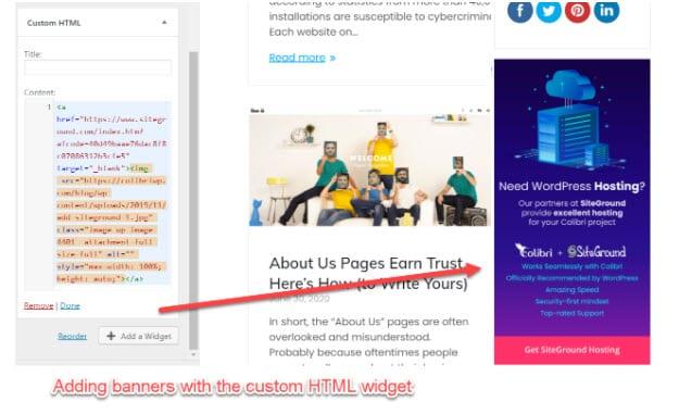 WordPress custom HTML