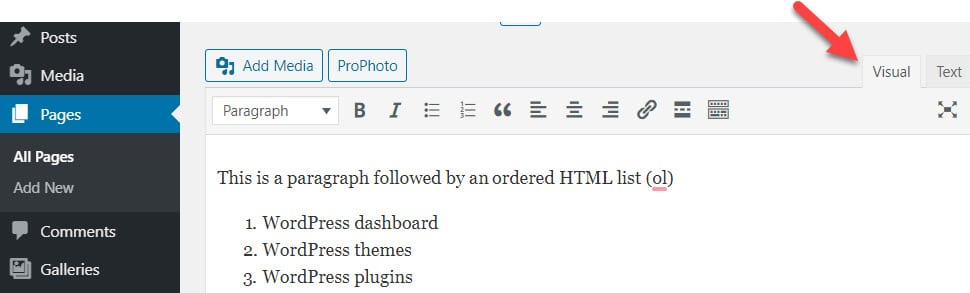 WordPress Visual Editor