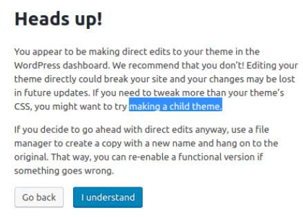 Warning - work on child theme