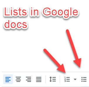 Lists in Google Docs