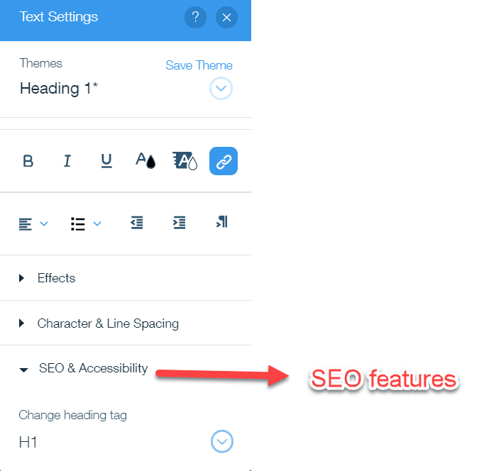 SEO features in wix