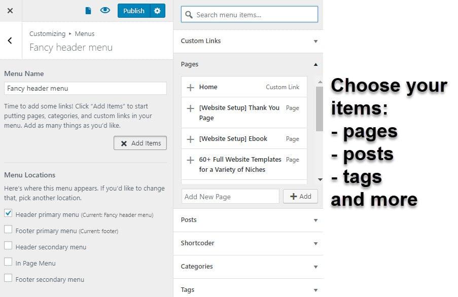 Add WordPress menu items