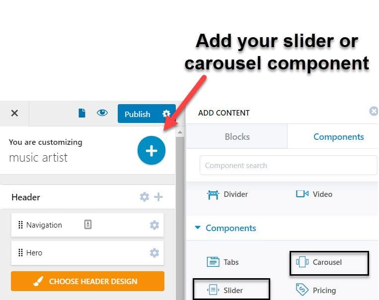 add the WordPress slider component