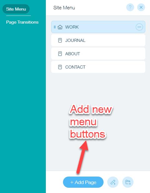 adding new menu items in Wix