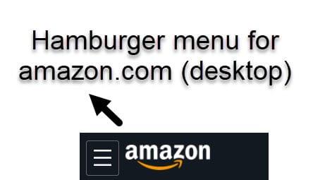 Amazon hamburger menu