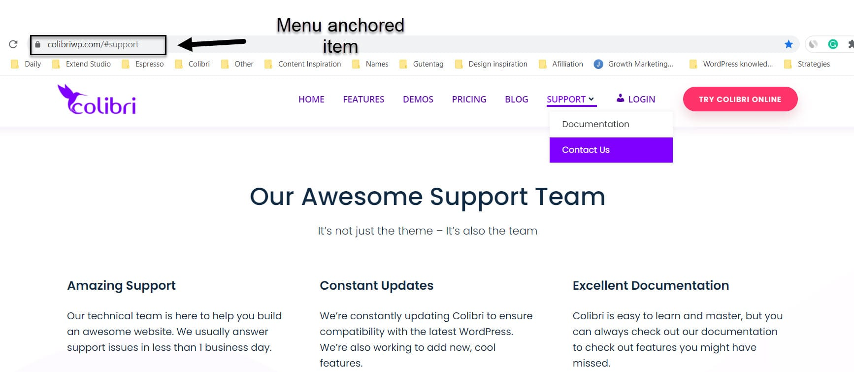 Anchored WordPress menu