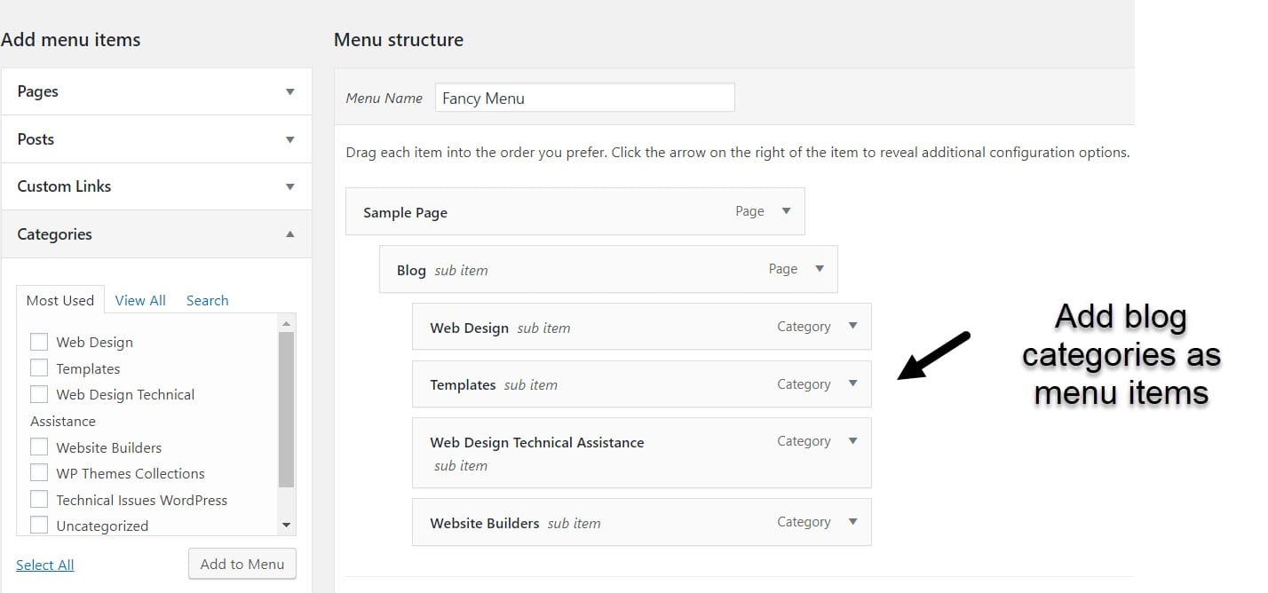 blog categories added to WordPress dropdown menu