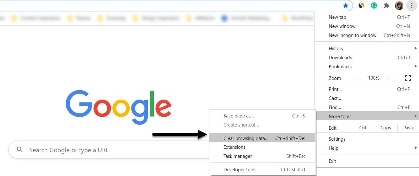 clear cache Chrome