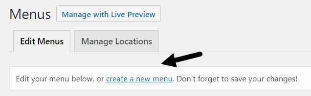 create new menu