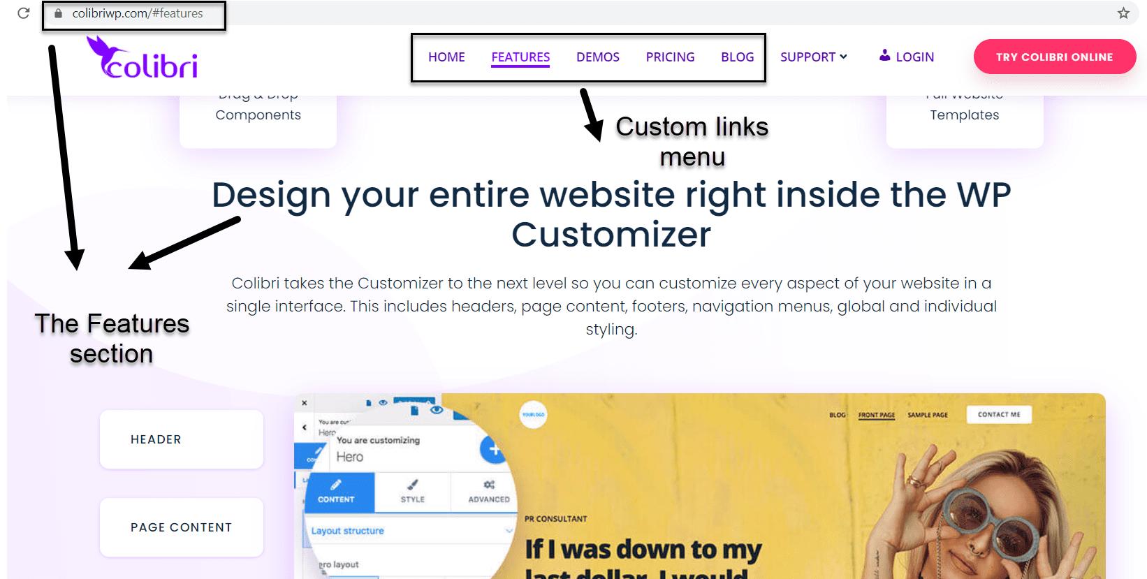 Custom links based WordPress menu