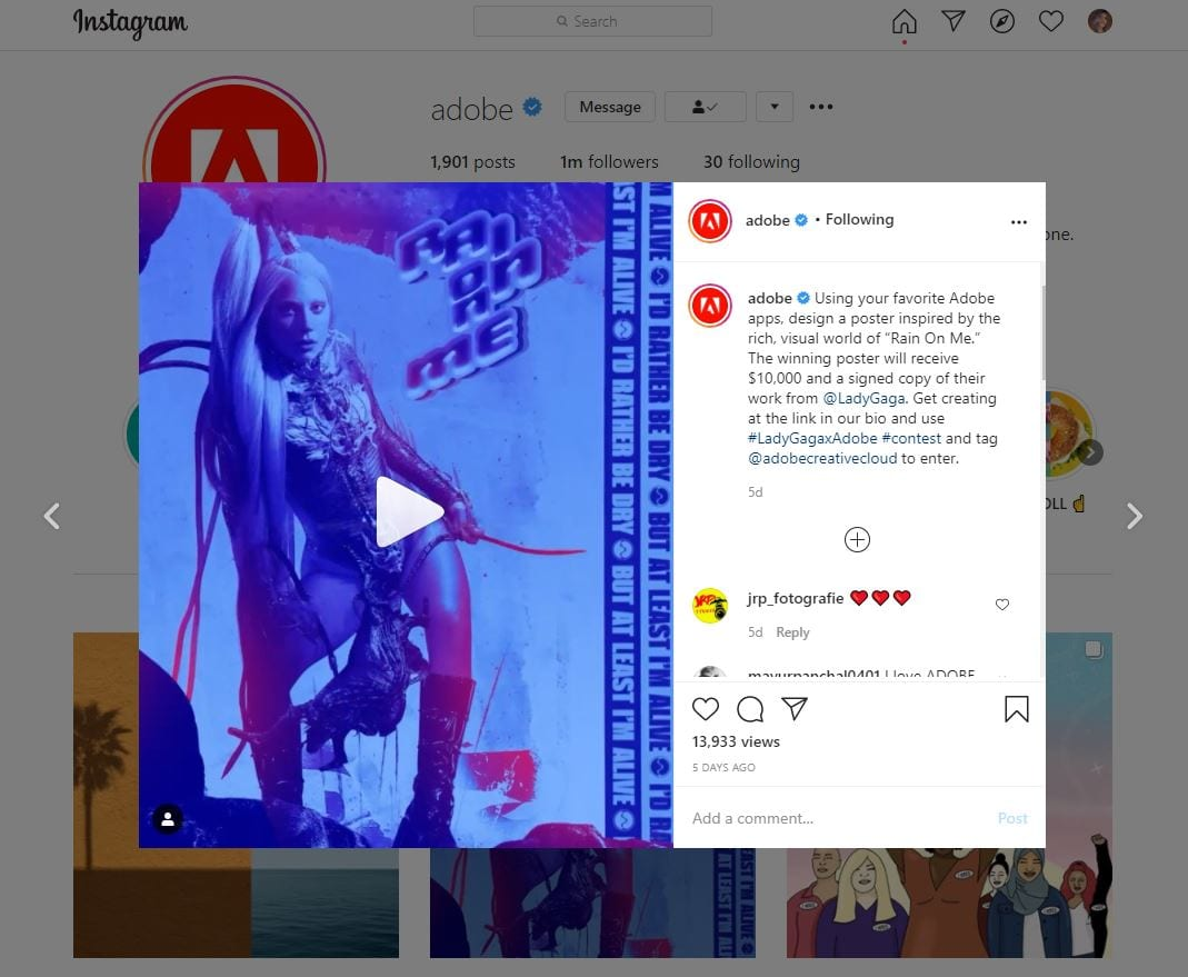 Adobe Instagram contest