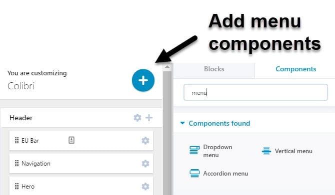 Add WordPress menu components