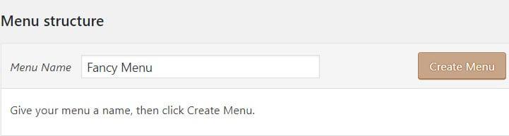 Give your WordPress menu a name