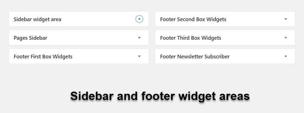 sidebar and footer widget areas