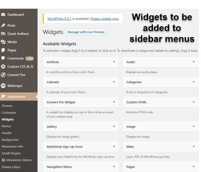 widgets to be added to sidebar menus