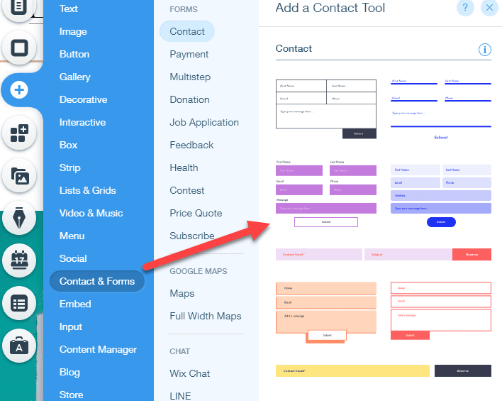 wix contact forms
